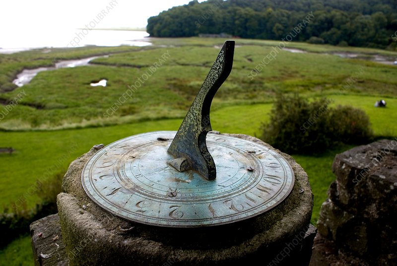 Sundial at Laugharne Castle, South Wales