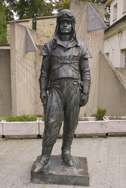 Aviator statue at Prague Observatory