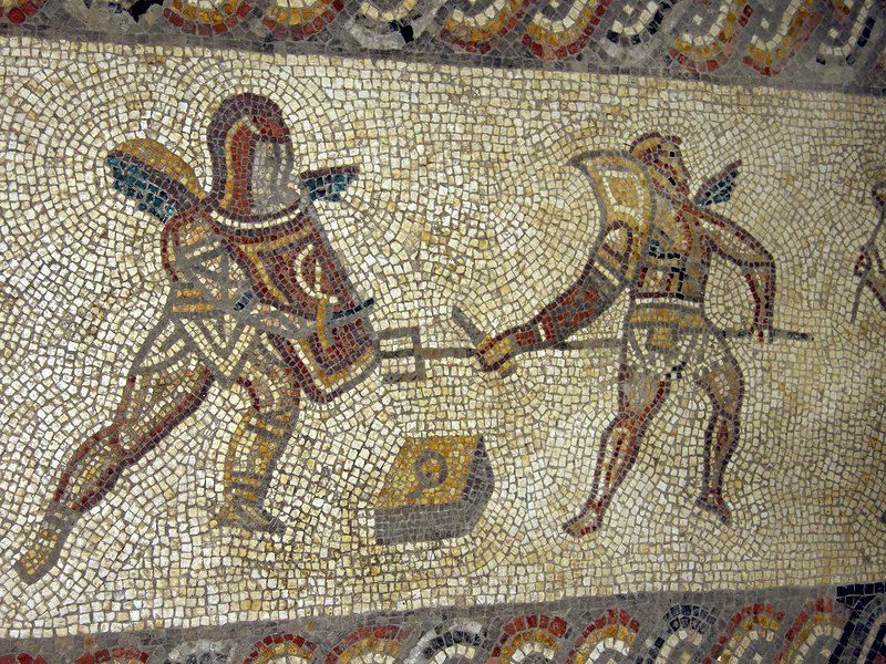Roman mosaic of gladiators