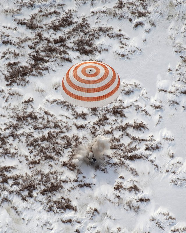 Soyuz TMA-16 spacecraft landing on Earth