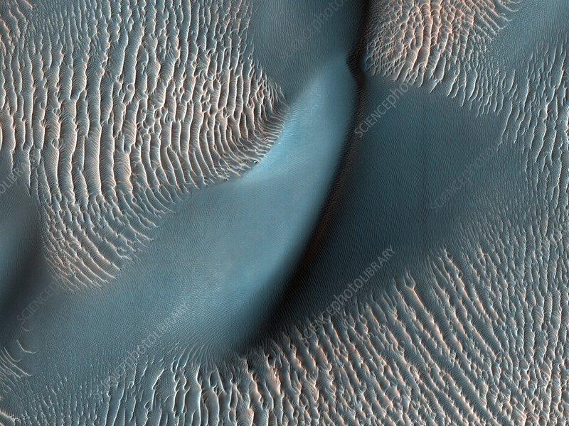 Sand dunes on Mars, satellite image