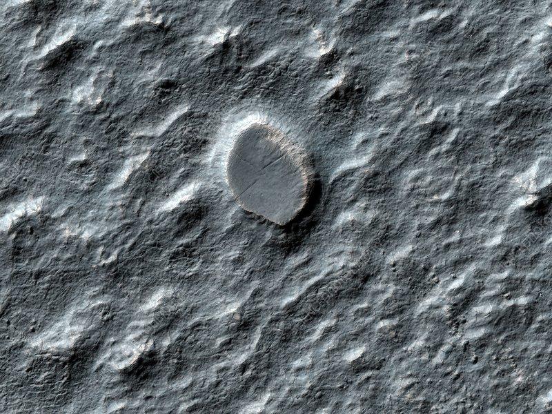 Rock debris on Mars, satellite image
