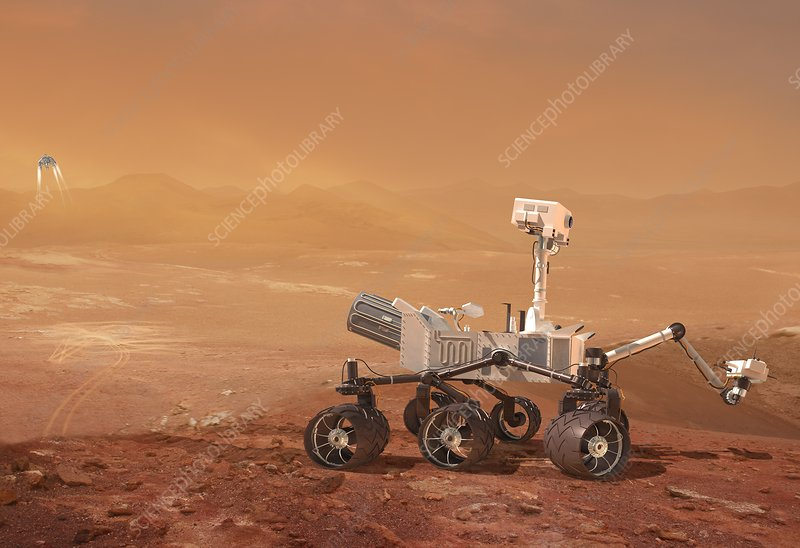 Curiosity rover on Mars, artwork