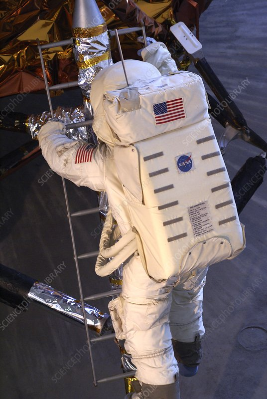 Astronaut descending Lunar Module ladder