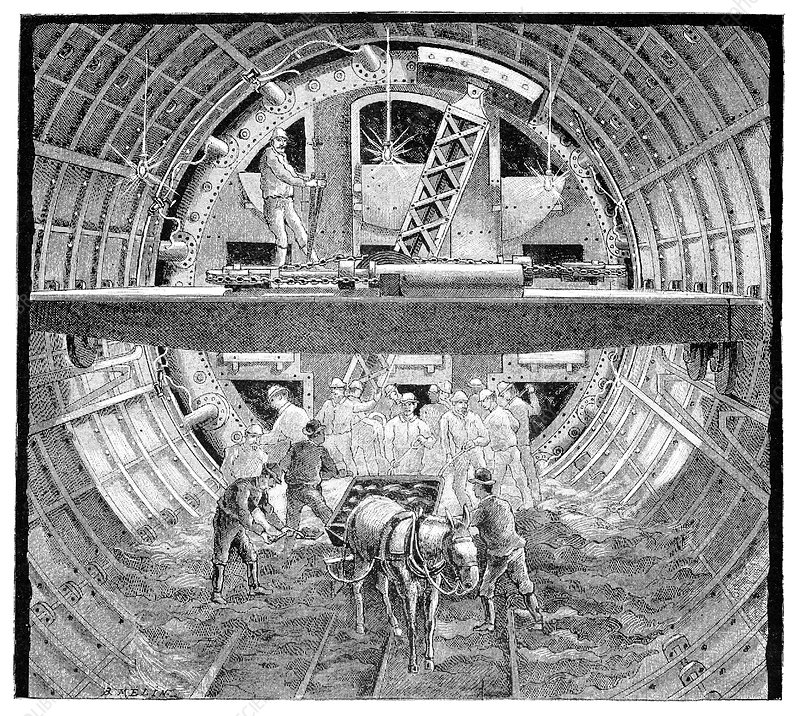 Tunnel construction, 19th century