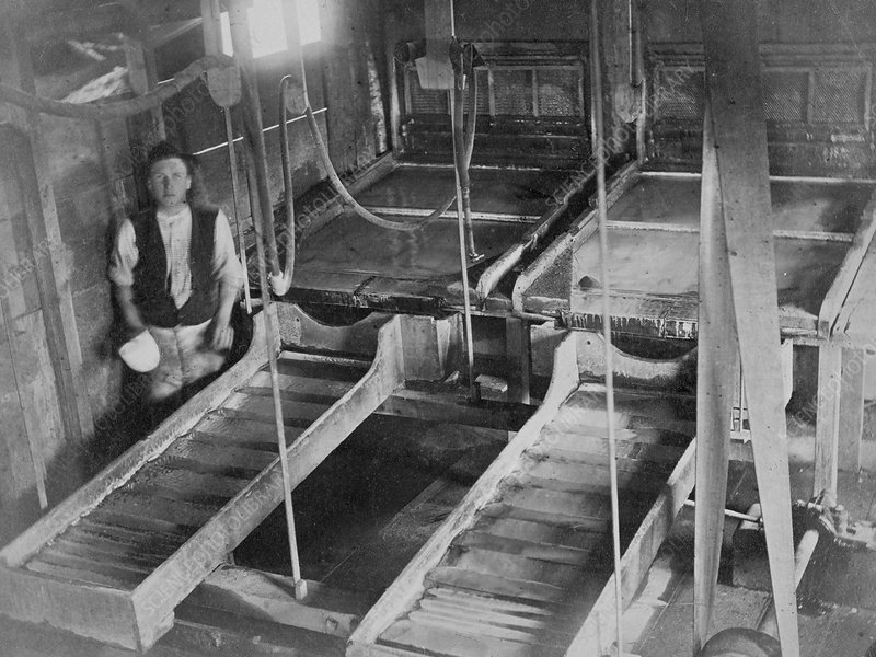 Amalgamating room, 19th century gold mine