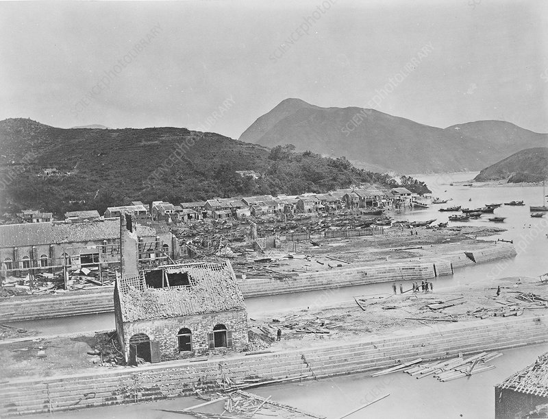 Typhoon damage, China, 19th century