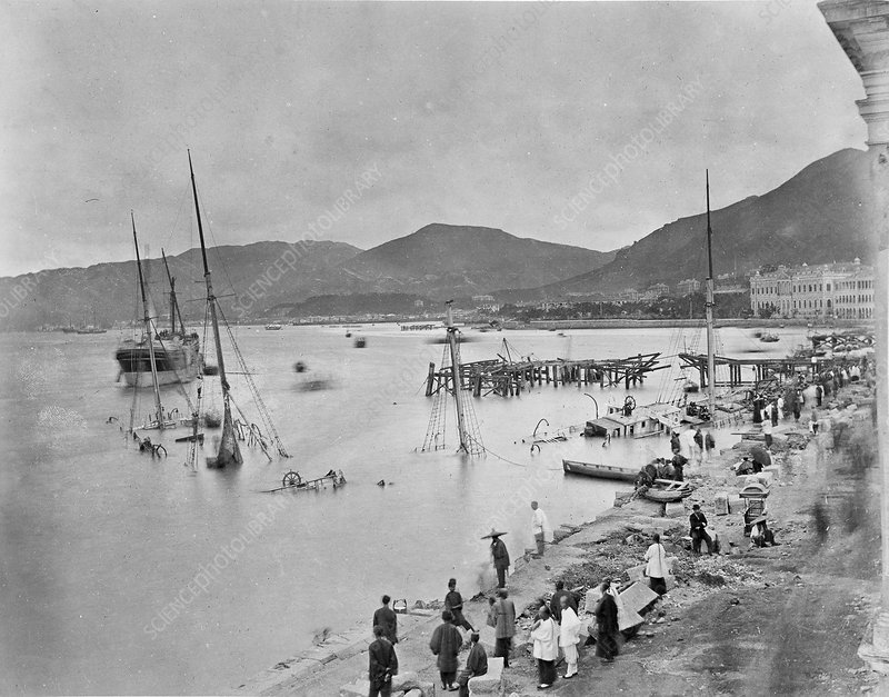 Typhoon damage, Hong Kong, 19th century