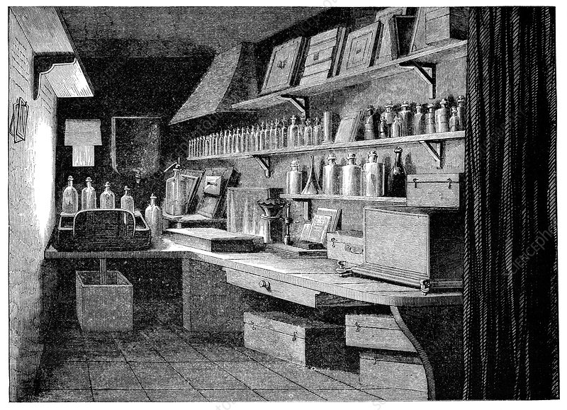 Photographic dark room, 19th century