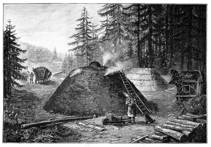 Charcoal production, 19th century