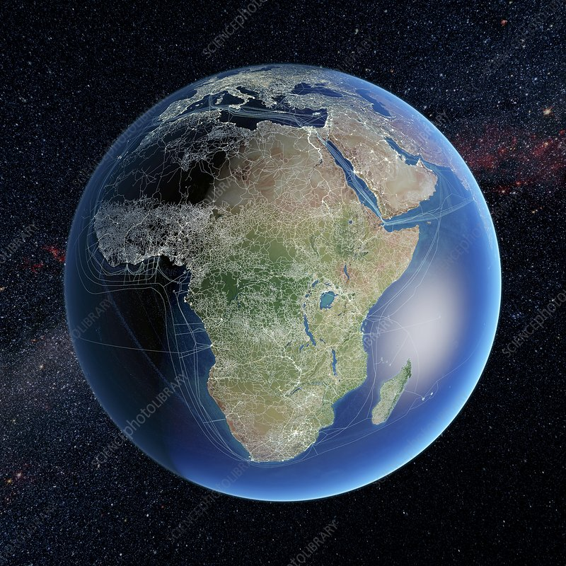 Human presence over Africa at night