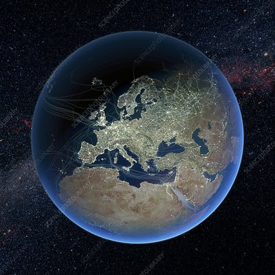 Human presence over Europe at night