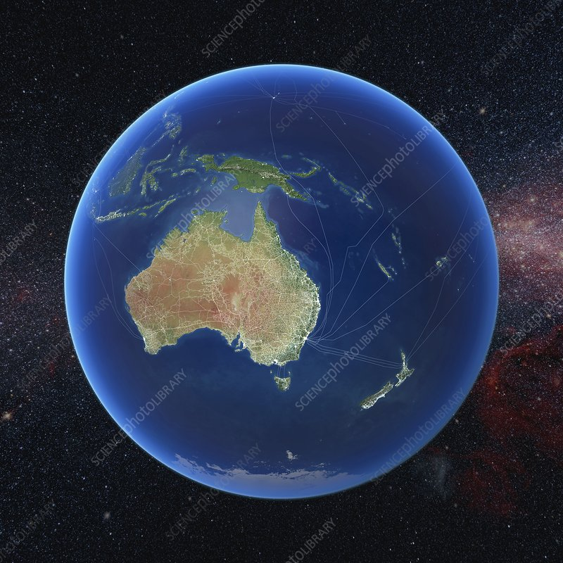 Human presence over Oceania at night