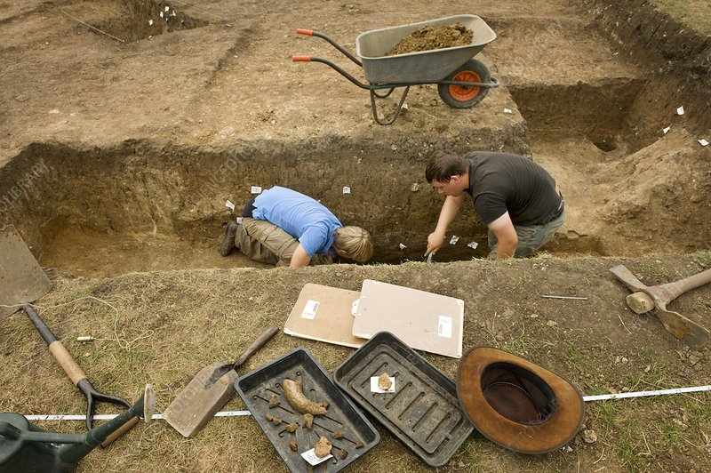 Iron-age archaeological site excavation