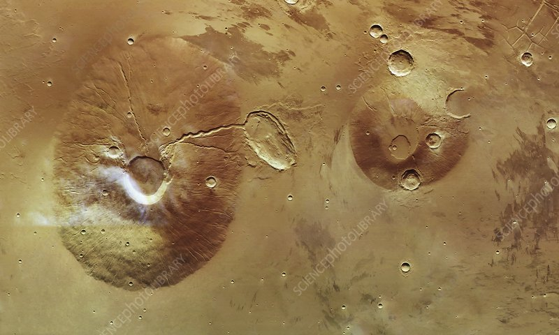 Martian volcanoes, Mars Express image