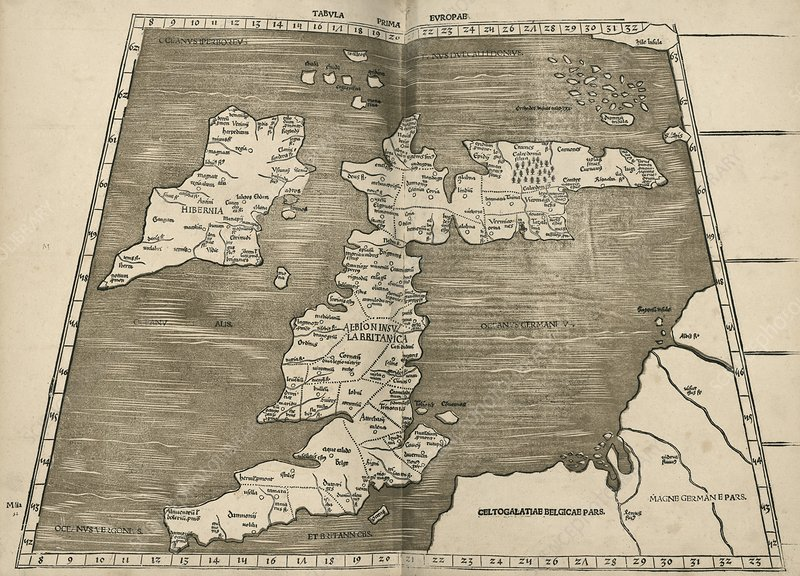 Ptolemy's map of Britain, 16th century