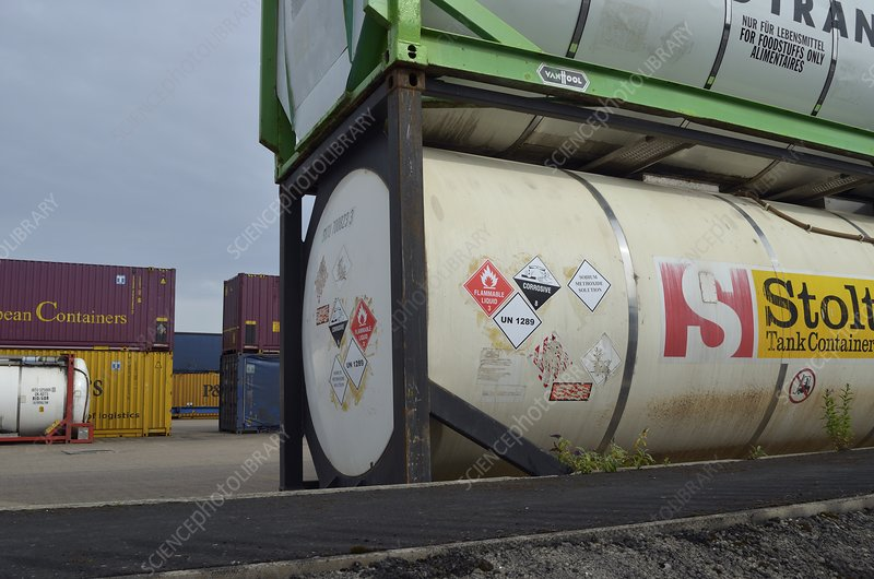 Chemical containers at docks