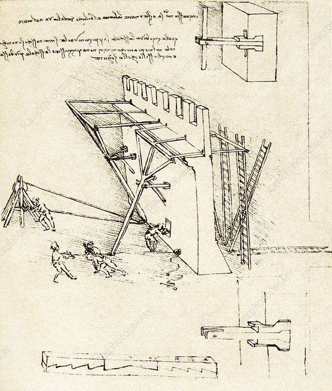 Leonardo: repelling of scaling ladders
