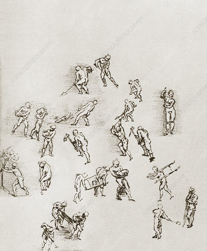 Sketches of labourers at work
