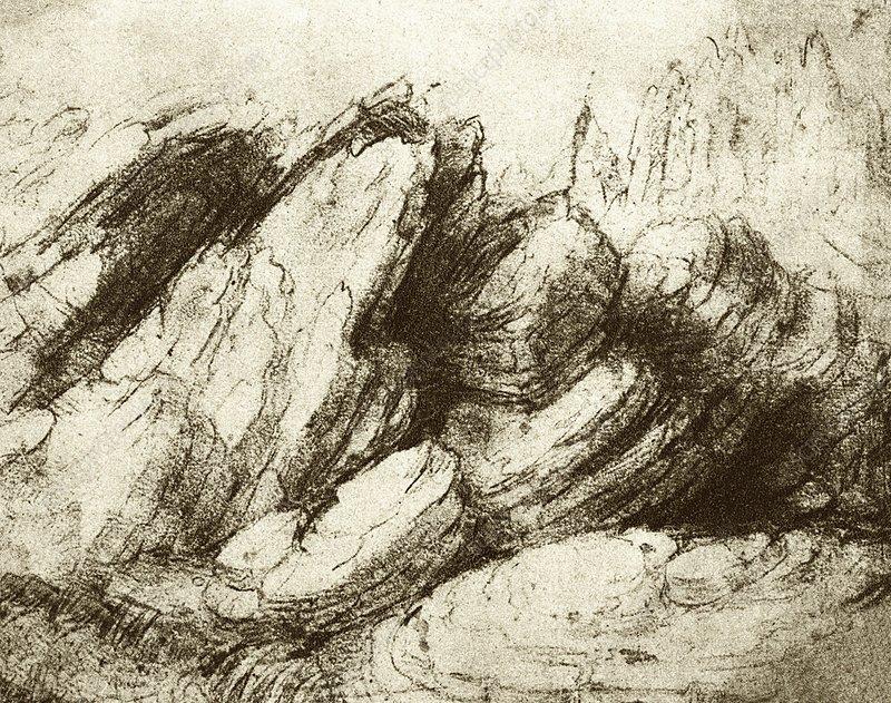 Leonardo's drawing of stratified rocks