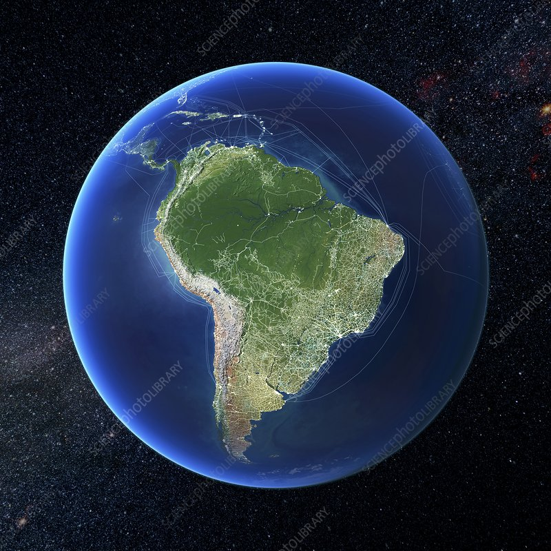 Human presence over South America
