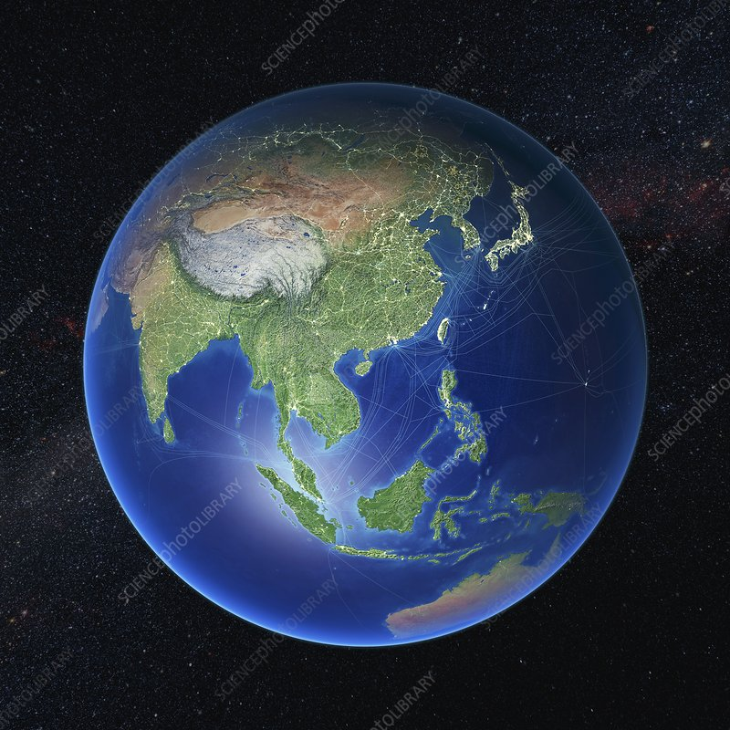 Human presence over Asia at night