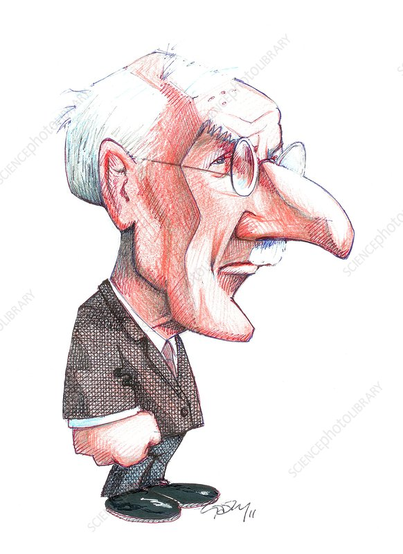 Caricature of Carl Jung, Swiss psychiatrist