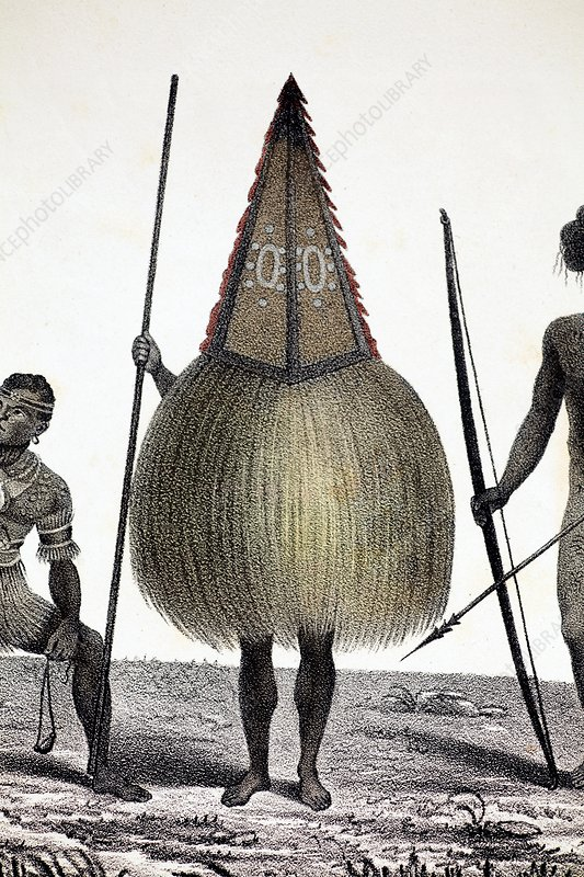 1827 New Ireland native sprit costume PNG