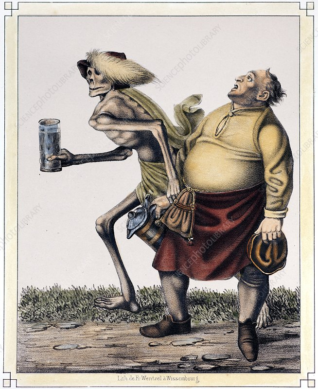 1830 dance of death, drink and obesity