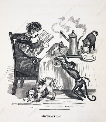 1836 Caricature of abesent minded prof.