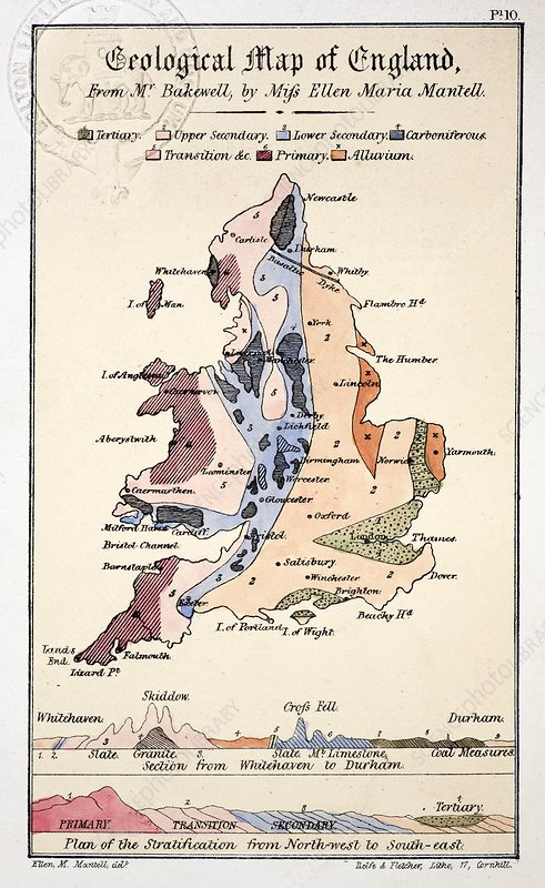 1838 Geological Map of England by Mantell
