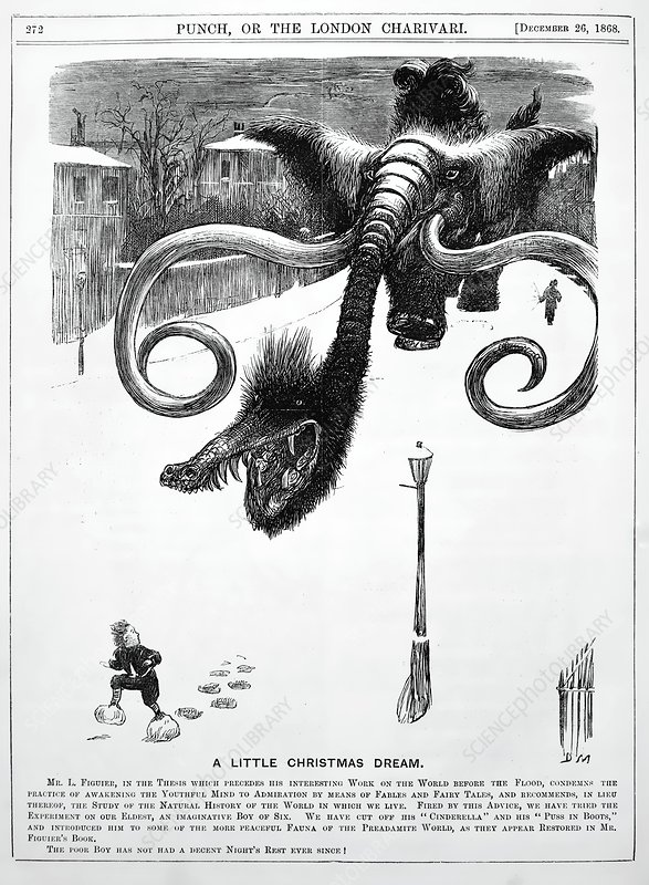 1868 Punch cartoon of mammoth nightmare