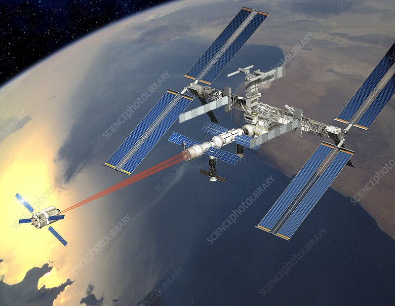 ATV approaching the ISS, artwork