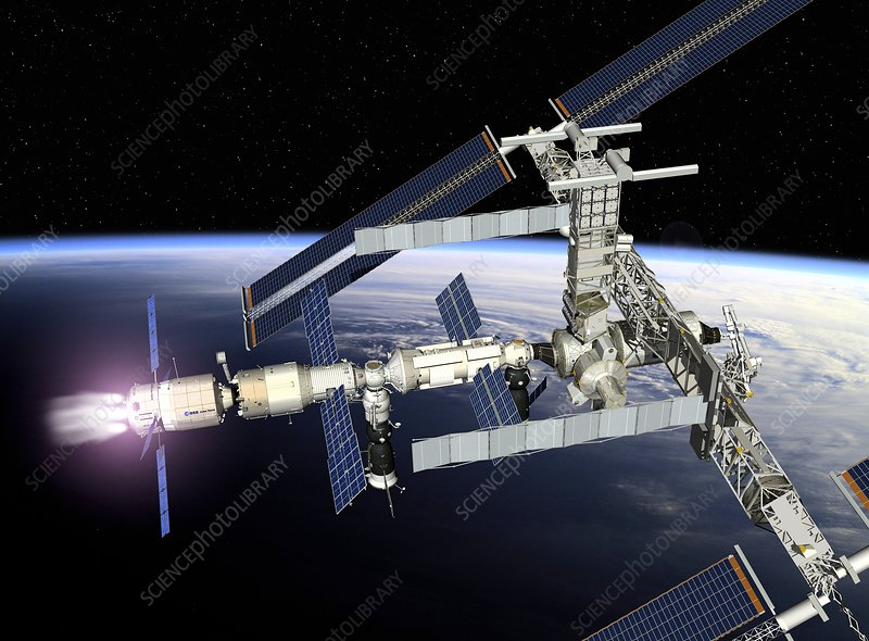 ATV boosting the ISS, artwork