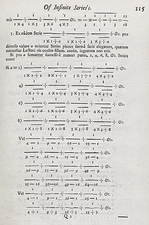 Mathematical series, 18th century