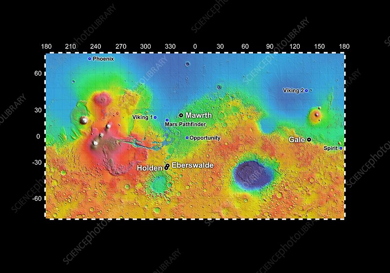 Rover landing site final candidates