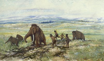 Hominids hunting mammoths