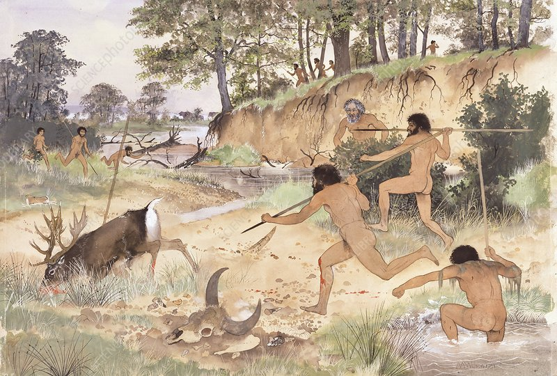 Neanderthal group hunting, artwork