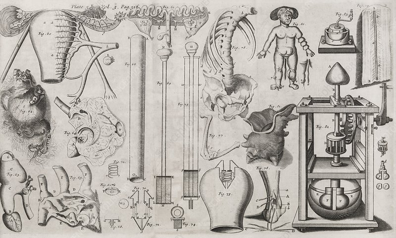 Science illustrations, 17th century