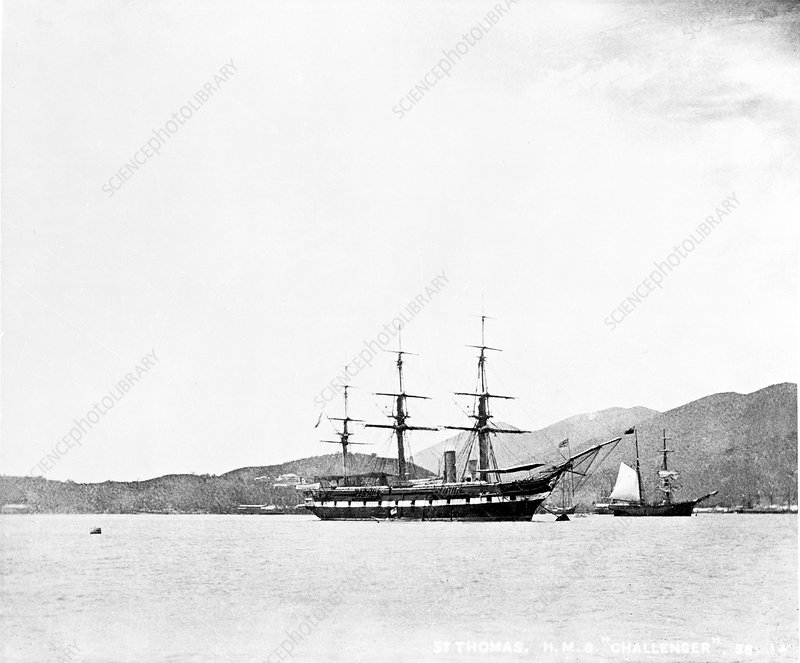 HMS Challenger at St Thomas, 1873