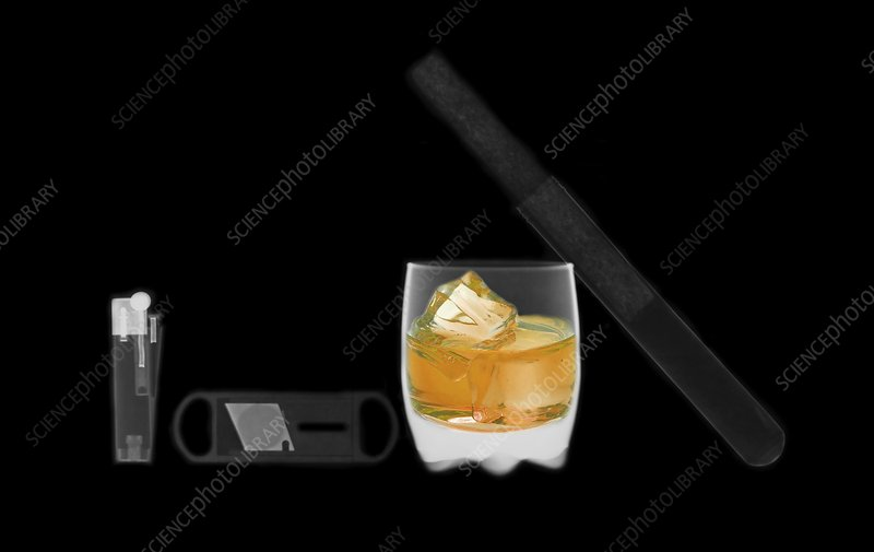 X-ray of whiskey and cigar
