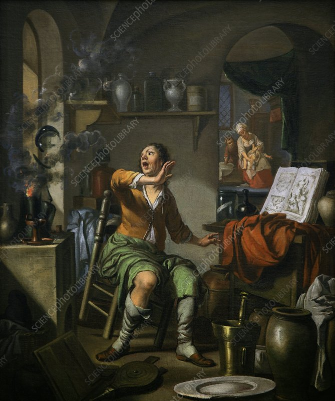 Alchemist working, 17th Century artwork