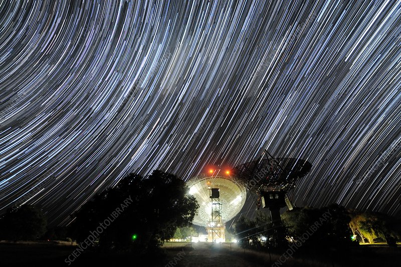 Star trails over Parkes Observatory