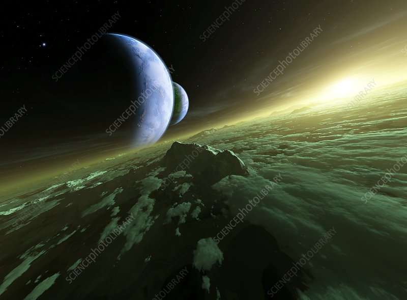 Alien planetary system, artwork