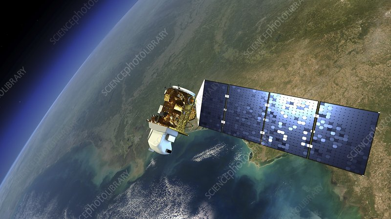 Landsat 8 satellite in orbit, illustration