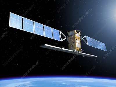 Sentinel 1 satellite in orbit, artwork