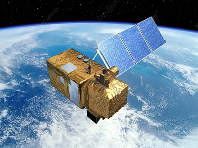 Sentinel 2 satellite in orbit, artwork