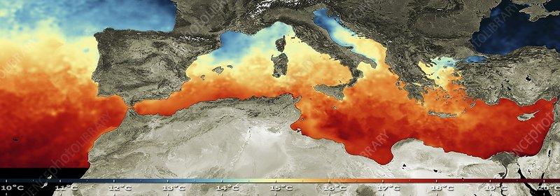 Mediterranean sea surface temperature