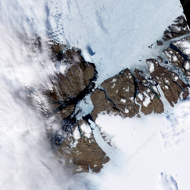 Petermann Glacier calving satellite image