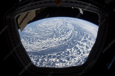 Low pressure weather system from space